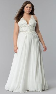 Shop chiffon long prom dresses in plus sizes at PromGirl. Floor-length plus-size formal evening dresses with sleeveless embroidered-lace v-neck bodices and removable rhinestone belts. Formal Evening Dresses, Evening Gowns, Plus Size Prom Dresses, Mom Dress, Prom Girl, Chiffon Skirt, Lace Bodice, Wedding Dresses, Vestidos