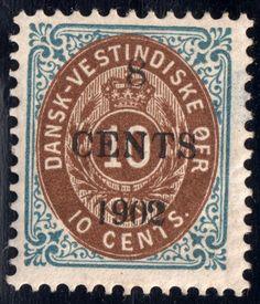 Danish West Indies #25 A2  MH OG OVPT 8 on 10, 4 Good Margins perf 13  1902