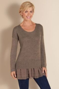 Provence Pullover Vicuna borwn- Pullover Sweater, L:ayered Look Sweater, French Sweater | Soft Surroundings