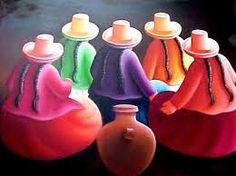 Resultado de imagen para cuadros andinos peruanos Peruvian Art, Latino Art, Learn Art, Mexican Folk Art, People Art, Pictures To Paint, Beautiful Artwork, Indian Art, Amazing Art
