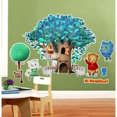 Daniel Tiger's Neighborhood Giant Wall Decals on BirthdayExpress.com - Your child can make believe that they are a part of the neighborhood with this huge treehouse decal! It is repositionable, so you can use it for your party, then use it to decorate your child's room.