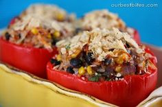 Southwest Stuffed Bell Peppers - Our Best Bites Notes from friend who made this:  My husband and the girls aren't big fans of actual stuffed peppers, so I cut the peppers up and put it into the rice mixture:) We eat it plain, in tortillas, etc. I also use quinoa instead of rice. And I think I added mango when I brought it to your house.