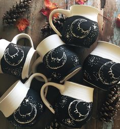 Moon mugs for Monday! I'm glazing these ones up now, and firing up the kiln again tonight. Set those alarms for Monday, 8 PM EST! Ceramic Pottery, Ceramic Art, Ceramic Decor, Coffee Cups, Tea Cups, Sgraffito, Cute Mugs, Mug Cup, Tea Set