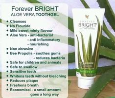 Forever living aloe vera Bright Tooth Gel Natural Mint Flavour No Fluoride Aloe Barbadensis Miller, Forever Living Aloe Vera, Forever Aloe, Forever Bright Toothgel, Forever Living Business, Home Teeth Whitening Kit, Stained Teeth, Forever Living Products, Cleaning