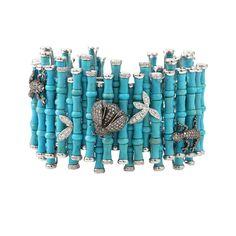 WENDY YUE ~ Turquoise Diamond Bamboo Cuff