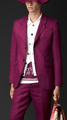Burberry Magenta Pink Linen Tailored Jacket - A tailored jacket crafted from linen.  The design features notch lapels, a darted waist, welt and flap pockets.  Sartorial pickstitch detailing completes the piece.  Discover men's tailoring at Burberry.com