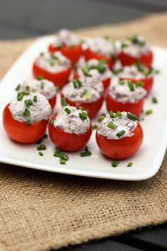 Kalamata Olive & Goat Cheese Stuffed Cherry Tomatoes  24 heirloom cherry tomatoes (about 1 pint), washed and dried  4 ounces goat cheese  1/...