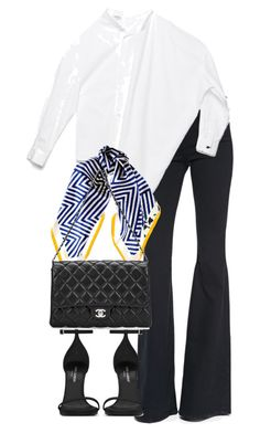 """Untitled #4215"" by theeuropeancloset on Polyvore featuring Frame, Black, Yves Saint Laurent and Chanel"