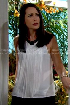 Quinn's white fringed top on The Bold and the Beautiful Rena Sofer, Bold And The Beautiful, Be Bold, Silk Top, Girly, Actresses, Dark, People, American Actors