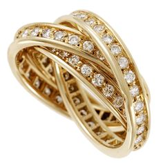 Cartier Trinity Diamond Gold Three Band Ring