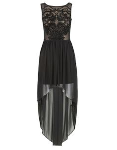 Black Velvet Baroque Print Sheer Dipped Hem Dress