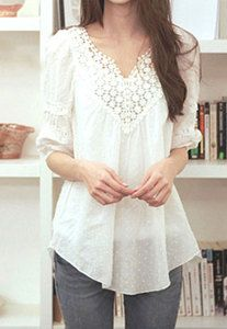 Price:$25.99 Color: White  Material: Cotton Blends Sweet Elegant Floral Crochet Lace Spliced White T-shirt
