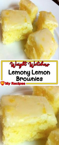 "LEMONY LEMON BROWNIES These ""brownies"" have a bright, tart, and fresh lemon flavor. It's a perfect dessert in any season, but particularly refre. - My Website 2020 Weight Watcher Desserts, Weight Watchers Snacks, Weigh Watchers, Lemon Dessert Recipes, Köstliche Desserts, Ww Recipes, Brownie Recipes, Delicious Desserts, Healthy Lemon Desserts"