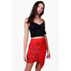 Boohoo Megzhan Asymetric Star Embellished Mini Skirt (2.285 RUB) ❤ liked on  Polyvore featuring skirts ce55dd316093f