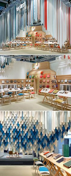 'The Picnic' features a massive wooden construction of Dinesen Douglas Fir and a textile installation consisting of straps made out of a selection of twenty different Kvadrat textiles. Visual Display, Display Design, Booth Design, Visual Merchandising, Exhibition Display, Exhibition Space, Commercial Design, Commercial Interiors, Vitrine Design