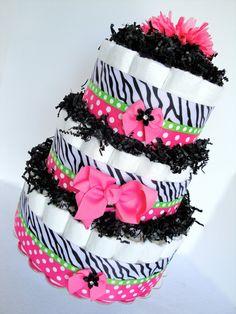 Baby Diaper Cake - Zebra Hot Pink, Black & Green Polka Dot  Baby Girl Diaper Cake Shower Centerpiece - 3 Tier