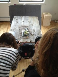 Workshop attendees zooming in for some salad shots at the #sweetpaul food styling and photography workshop.  Photo by Rob Anderson.