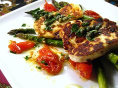 Seared Haloumi with Roasted Asparagus and Tomatoes - a perfect first course for a meatless seder