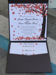 Falling leaves Wedding Invitation Autumn by LittleBoPress on Etsy, $5.25