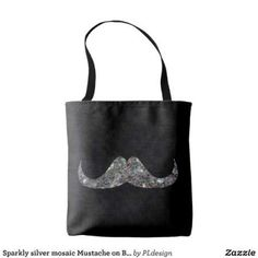 Sparkly silver mosaic Mustache Black All-Over-Print Tote Bag by #PLdesign #sparkles #SilverMosaic #SparklesGift
