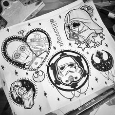 New tattoo flash! :) #starwars #starwarstattooflash #starwarstattoo…