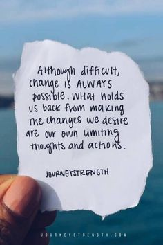 Although difficult, change is always possible. What holds us back from making the changes we desire are our own limiting thoughts and actions. | inspirational quotes | motivational quotes | motivation | personal growth and development | quotes to live by | mindset | self-care | strength | courage | You are enough | passion | dreams | goals | hard work #InspirationalQuotes  |  Journeystrength #motivationalquotes |  #quotes  |  #quoteoftheday  |  #quotestoliveby  |  #quotesdaily