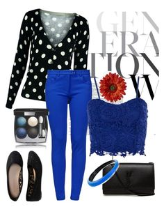 """Black and Blue"" by chanlee-luv ❤ liked on Polyvore featuring Aéropostale, Boutique Moschino, Dorothy Perkins, Yves Saint Laurent, Chanel and Alexis Bittar"