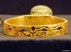 *EGYPT ~ Gold bracelet from the treasure in the Royal tombs at Tanis (circa 1070-712 BC) Cairo Museum