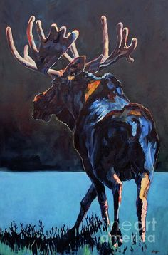"""Colorful Contemporary Wildlife Moose Western Painting """"Shadow Maker"""" by Contemporary Animal Artist Patricia A. Griffin"""