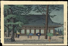 Asano, Takeji - Rain At Sanjusangendo Temple, Kyoto