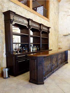 Old West Saloon Bar, Custom Design from Ranch Rack, San Antonio, Texas - Bar Ideen Western Saloon, Western Bar, Old West Saloon, Speakeasy Decor, Pub Decor, Diy Home Bar, Bars For Home, Old West Decor, Bar Interior