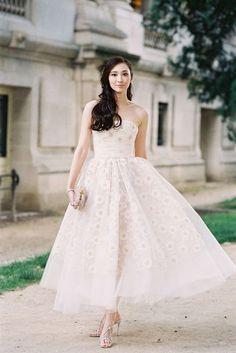Beautiful tea length wedding dress   The Wedding Scoop Spotlight: Short Wedding Dresses
