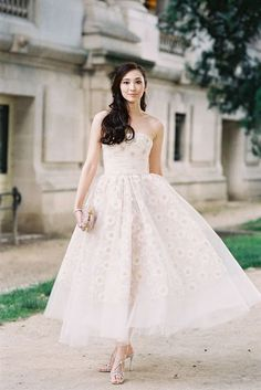 Beautiful tea length wedding dress | The Wedding Scoop Spotlight: Short Wedding Dresses