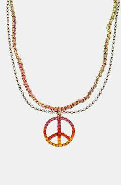Betsey Johnson 'St. Barts' Peace Sign Pendant Necklace | Nordstrom