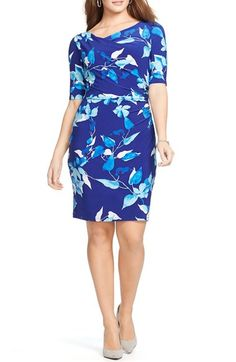 Lauren Ralph Lauren Floral Print Asymmetrical Side Ruched Jersey Sheath Dress (Plus Size)