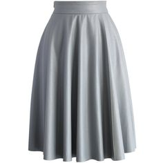 Chicwish Textured Faux Leather Skirt in Grey (805 MXN) ❤ liked on Polyvore featuring skirts, grey, imitation leather skirt, gray skirt, vegan leather skirt, elastic waist skirt and grey skirt
