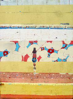 "Michael Cutlip - Balance Act, mixed on panel, 36 x 48"""