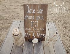 Date Jar Date Ideas For The New Mr and Mrs Wedding Game Bridal Shower Game Rustic Wedding Wedding Sign Country Wedding #DownInTheBoondocks