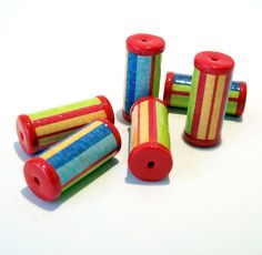 Bright Striped Tube Beads with Red Ends -  Paper and Polymer Clay by BarbiesBest on Etsy