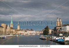 Beautiful view of Zurich and river Limmat, Switzerland #Zurich #City #Town #Switzerland #europe #Storm #Clouds #Cathedral