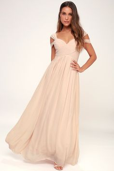 You'll be the hit of any dance floor in the Make Me Move Blush Pink Maxi Dress! Double shoulder straps lead into a gathered surplice bodice and full maxi skirt. Blush Pink Maxi Dress, Peach Maxi Dresses, Purple Maxi, Maxi Bridesmaid Dresses, Lace Maxi, Maxi Wrap Dress, Cute Dresses, Dress Lace, Bridesmaids