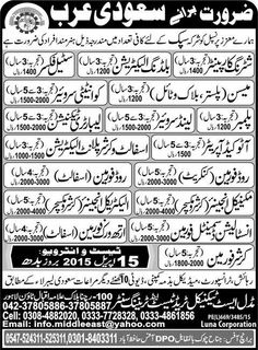 Building Electrician Steel Fixer Saudi Arabia Jobs Application are invited Shuttering Carpenter Building Electrician Steel Fixer Mason Quantity Surveyors