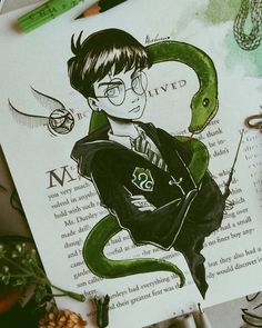What if Harry Potter was a Slytherin.☇🐍 For today's Potter dresses black and green. Comment with snake emoji if you are a Slytherin 🐍💚 - E se o Harry fosse da Sonserina. Comentem uma cobrinha se vc tbm é da melhor casa de Hogwarts 🐍☇✨💚 - Harry Potter Fan Art, Harry Potter Drawings, Harry Potter Universal, Harry Potter Fandom, Harry Potter World, Harry Potter Dress, Harry Potter Style, Desenhos Harry Potter, Tim Burton Art