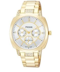 Pulsar PP6136 Women's Watch Gold Tone Stainless Steel with Swarovski Crystals