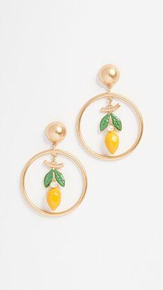 Tory Burch Lemon Hoop Drop Earrings In Vintage Gold Prince Héritier, Jewelry Accessories, Jewelry Design, Playing Dress Up, Tory Burch, Jewelery, Hoop Earrings, My Style, Diamond