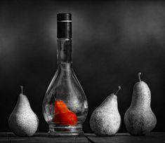 Still life black and white photography with color