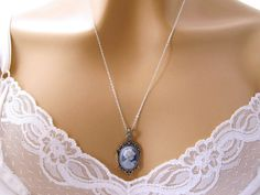 Blue Cameo Necklace: Victorian Woman Small Blue Cameo Necklace, Sterling Silver, Vintage Look Romantic Victorian Jewelry, Great Gift for Her