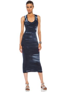 Enza Costa Bold Doubled Cotton Racerback Dress in Indigo
