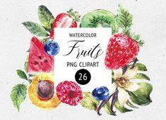 Tropical Art, Tropical Flowers, Diy Flowers, Watercolor Fruit, Watercolor Flowers, Fruit Clipart, Birthday Clipart, Passion Flower, Christmas Clipart