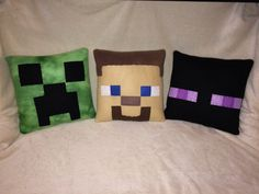 Minecraft Character Inspired Plush Pillows Creeper by CutesyKats